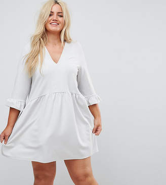 Asos V Neck Smock Dress With Frill Cuff