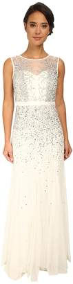 Adrianna Papell Beaded Illusion Gown Women's Dress
