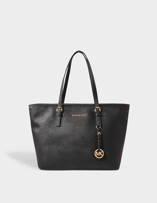 MICHAEL Michael Kors Jet Set Travel Top Zip Tote Bag in Black Saffia Leather