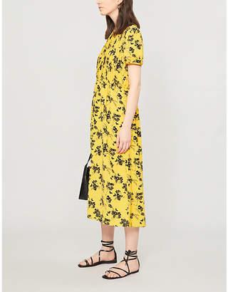 MICHAEL Michael Kors Floral print short sleeved pleated front crepe dress