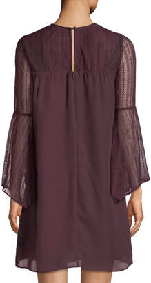 AVEC LES FILLES Bell-Sleeve Lace-Yoke Shift Dress