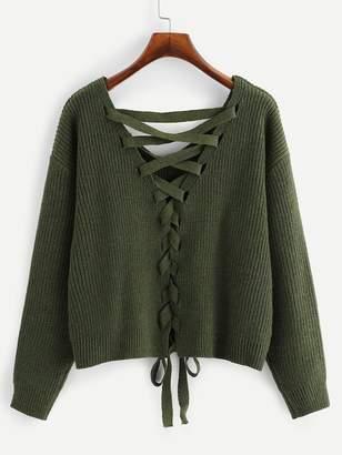 Shein Plus Lace Up Drop Shoulder Sweater