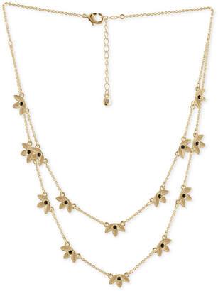 "Rachel Roy Gold-Tone Stone Leaf Double-Row Station Necklace, 12-1/2"" + 2"" extender"