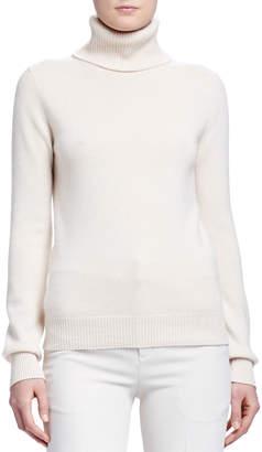 Chloé Cashmere Ribbed-Knit Turtleneck Sweater, Ivory