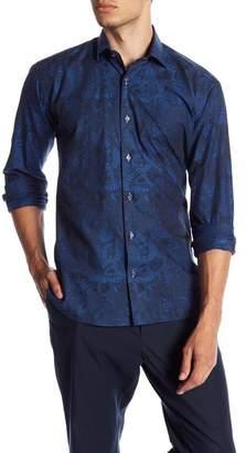 Maceoo Blue Paisley Modern Fit Shirt