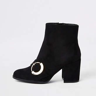 River Island Black toe buckle block heel boots