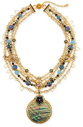 Jose & Maria Barrera Mixed Chain & Abalone Pendant Necklace