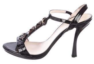 Prada Patent Leather T-Strap Sandals Black Patent Leather T-Strap Sandals