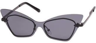 Karen Walker Mrs. Brill Cat-Eye Semi-Rimless Sunglasses, Black Pattern
