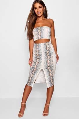 boohoo Petite Snake Print Bandeau & Midi Skirt Co-Ord