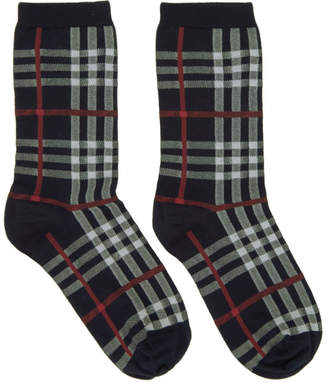 Burberry Navy Vintage Check Socks