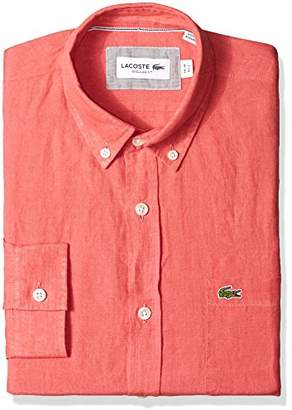 Lacoste Men's Long Sleeve Solid Linen Button Down Collar Reg Fit Woven Shirt