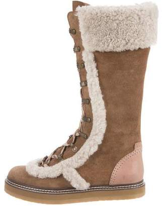 See by Chloe Suede Shearling Boots