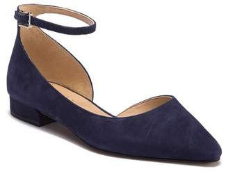 Franco Sarto Slide Half d'Orsay Suede Ankle Strap Flat - Wide Width Available