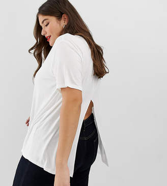 Asos DESIGN Curve t-shirt with drapey split back in white