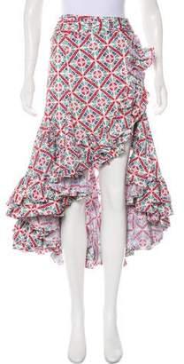 Caroline Constas Floral Print Midi Skirt