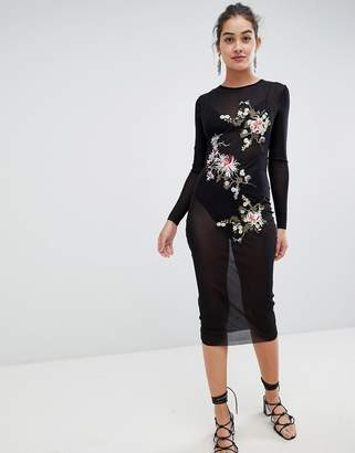 Glamorous mesh midi dress with floral embroidery