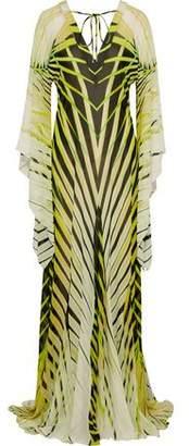 Roberto Cavalli Draped Printed Silk-Chiffon Gown