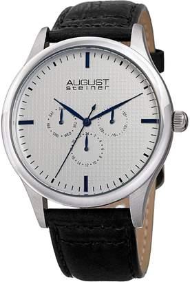 August Steiner Men's Quartz Multifunction Etched -Tone/Black Leather Strap Watch - AS8243SSBK