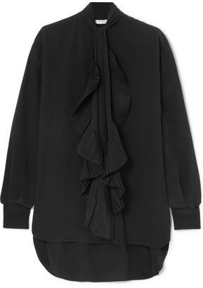 Givenchy Oversized Ruffle-trimmed Silk Crepe De Chine Blouse - Black