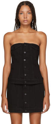 Alexander Wang Black Strapless Denim Top