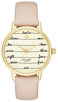 Women's Kate Spade New York 'Metro - Chalkboard' Leather Strap Watch, 34Mm $195 thestylecure.com