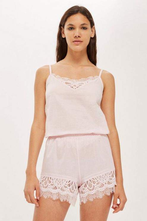 Cotton and lace camisole top