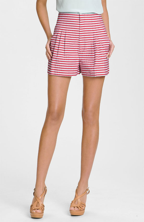 Nanette Lepore 'Gold Rush' Striped Pleated Shorts