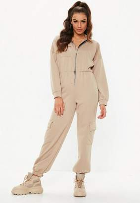 Missguided Camel Sweater Cargo Romper