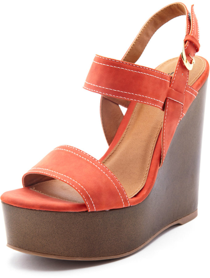 Charlotte Russe 2-Band Wooden Wedge Sandal