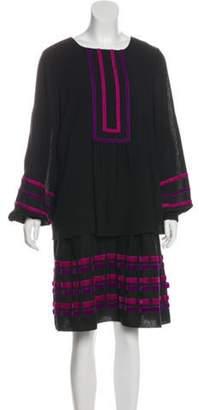 Anna Sui Long Sleeve Knee-Length Dress Black Long Sleeve Knee-Length Dress