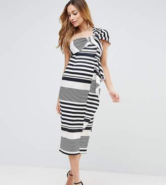 Black And White Striped One Shoulder Dress Shopstyle Uk