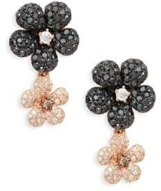 Effy 14K Rose Gold, Diamond & Black Diamond Drop Earrings