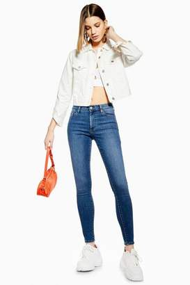 Topshop Womens Mid Blue Leigh Jeans