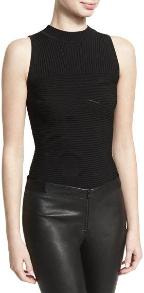 Cushnie Et OchsCushnie et Ochs Sleeveless Ribbed Bodysuit, Black