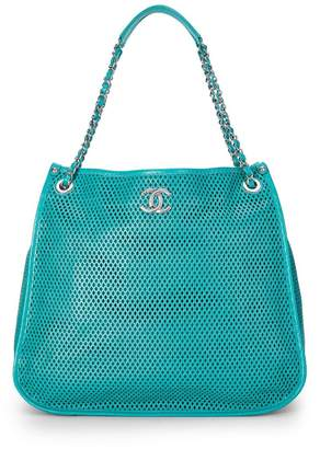 Chanel Green Perforated Leather Tote