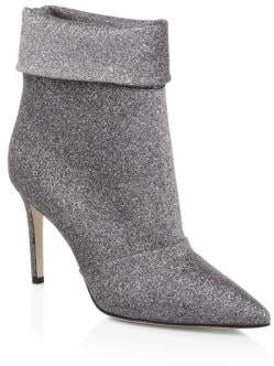 Paul Andrew Glitter Fold-Over Stiletto Bootie