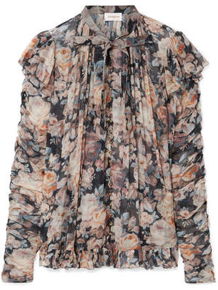 Zimmermann Tempest Frolic Ruffled Floral-print Silk-georgette Blouse - Gray
