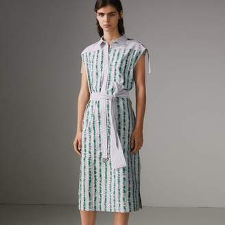 Burberry Scribble Stripe Cotton Shirt Dress , Size: 08