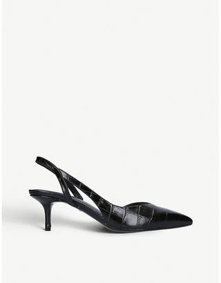 MICHAEL Michael Kors Eliza crocodile-embossed slingback leather pumps