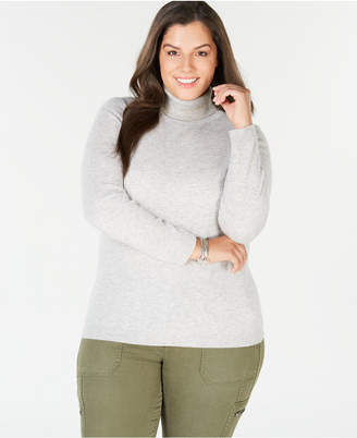 Charter Club Plus Size Pure Cashmere Turtleneck Sweater