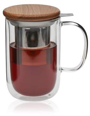 VIVA Scandinavia Minima Balance Double Walled Glass Teacup Set, 19.5-ounce Glass Teacups with Stainless Steel Infusers, Borosilicate (Set of 2)