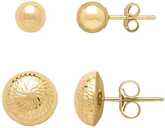FINE JEWELRY Infinite Gold 14K Yellow Gold Ball and Dome Stud 2-pc. Earring Set