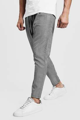 boohoo Woven Checked Jogger With Yellow Stripe
