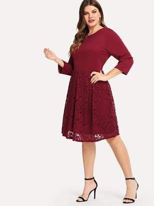 0fb280dc8cb Shein Plus Boxed Pleated Solid Dress