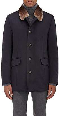 Gimos Men's Fur-Collar Shearling-Lined Cashmere Coat