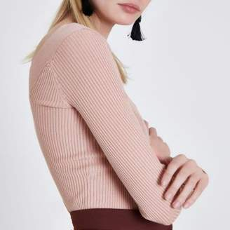 River Island Womens Light pink ribbed fitted V neck top