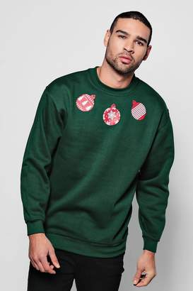 boohoo Christmas Bauble Print Jumper