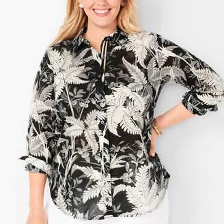 Talbots Classic Cotton Shirt - Fern Print