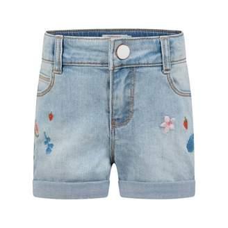 Catimini CatiminiGirls Blue Denim Embroidered Shorts